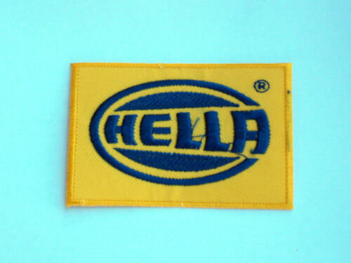 HELLA YELLOW /& BLUE BLOCK LOGO MOTOR RACING RALLY NASCAR SEW//IRON ON PATCH: