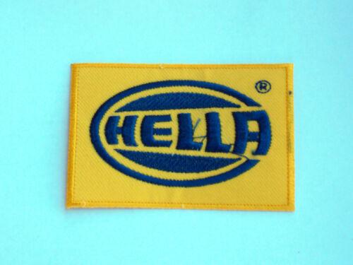HELLA YELLOW /& BLUE BLOCK LOGO MOTOR RACING RALLY NASCAR SEW//IRON ON PATCH: