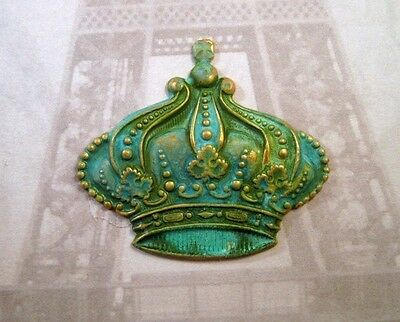 Large Verdigris Patina Brass Crown Stamping (1) - VPFF3819 Jewelry Finding