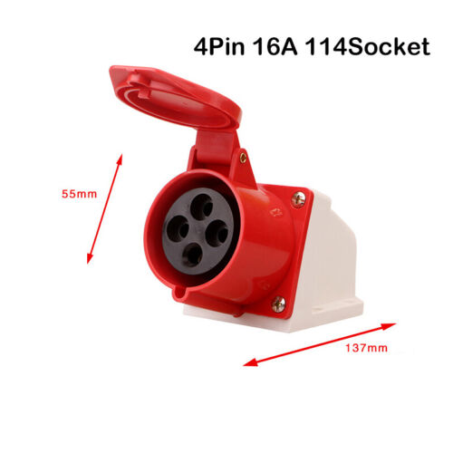 Details about  /Red 240//380-415V 16A 32A 4Pin 5 Pin Industrial Plug/&Sockets IP44 3 Phase 3P+N+E