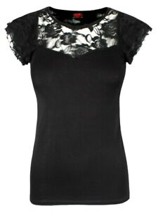 Spiral-Gothic-Elegance-Lace-Layered-Cap-Sleeve-Women-039-s-Black-Top
