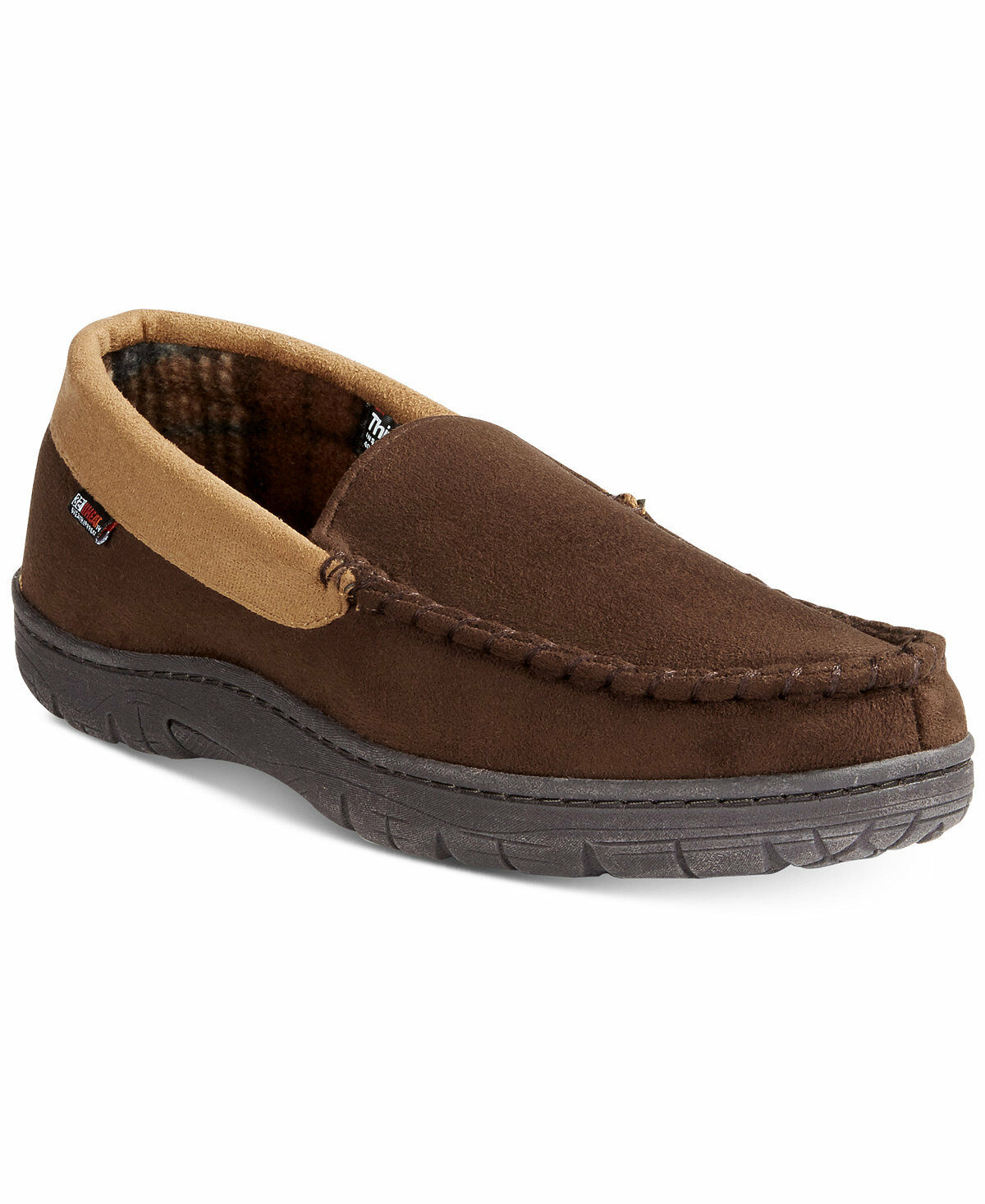 95 32 DEGREES WEATHERPROOF HEAT Men THINSULATE BROWN MOCCASIN SLIPPERS SHOE 8-9