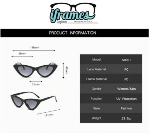 Occhiali da Sole iFrames Gradient Occhio di Gatto Vintage Donna 2019 Mod FELINE