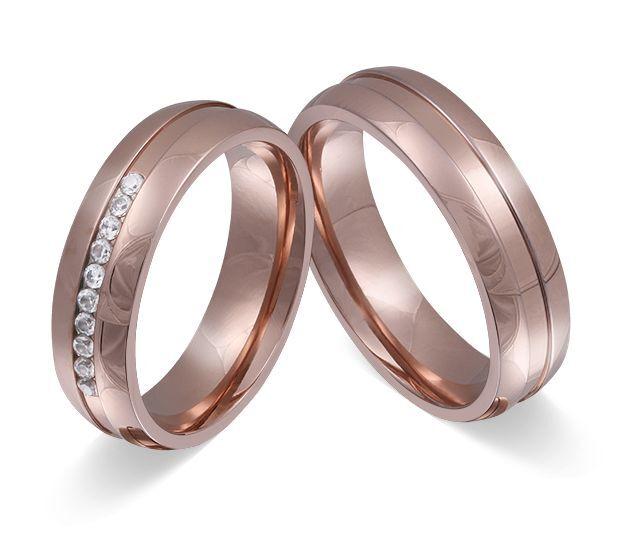 2 Anello Di Fidanzamento Fede Nuziale Acciaio Inox oro rosa rosa rosa Placcato oro 3fccc4