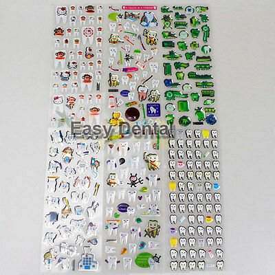6pcs Tooth Shaped Bubble Paper Sticker Cellphone Kids 3D Dental Gift Decor