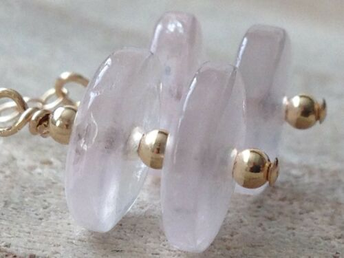 Beautiful Flat Round Rose Quartz Gemstones 14ct Rolled Gold Drop Earrings