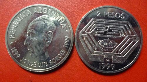 ARGENTINA COMMEMORATIVE COIN 2 Pesos Jorge Luis Borges KM128 UNC 1999