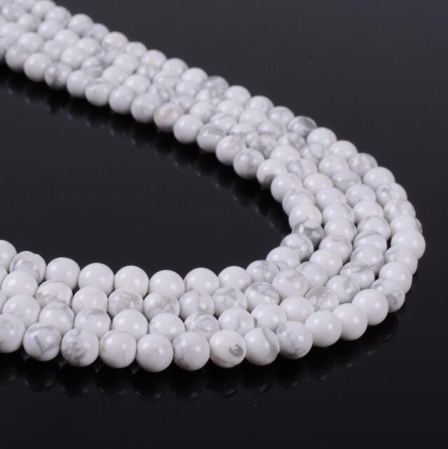 4mm357 4mm White Howlite round loose beads