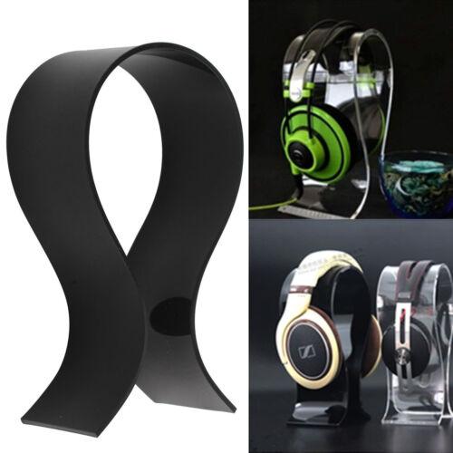 Clear Acrylic Headphone Stand Headset Holder Desk Display Hanger Rack Black Nice