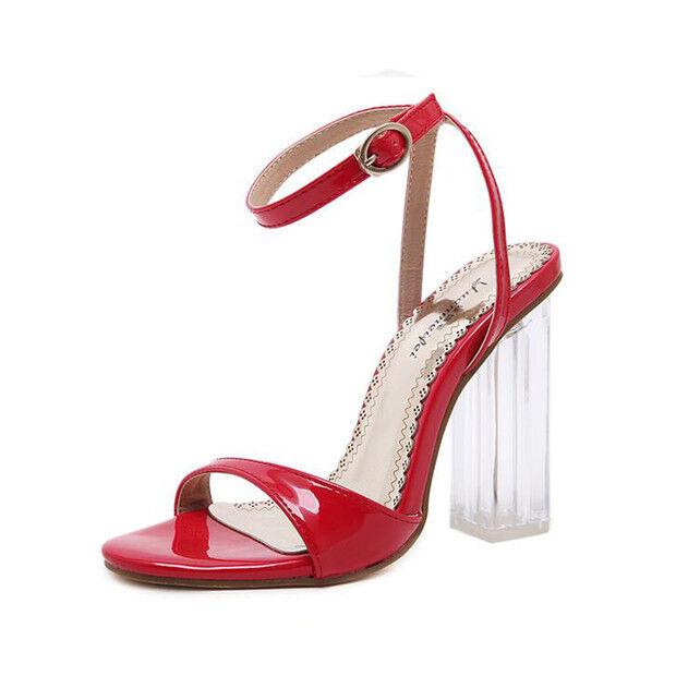 Sandalei rosso eleganti tacco quadrato 9.5 cm cm cm rosso Sandalei lacci simil pelle ... 843fa2