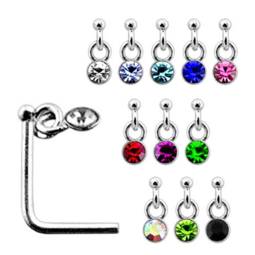 10 Pieces 22G 6mm 925 Sterling Silver 4 mm Long Dangling Stone L-Shaped Nose Pin