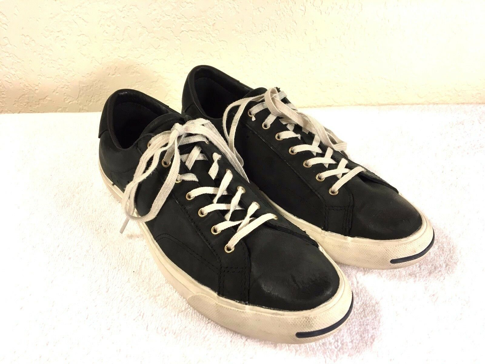 Converse Jack black Purcell black Jack leather sneaker shoes size men's 7.5 and womens 9 5417b0