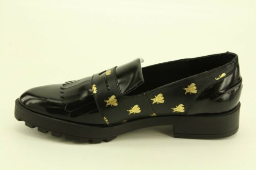 Details about  /NEW Miista Randi Black Gold Bees Polished Calf Leather Loafers Flats size 6 36