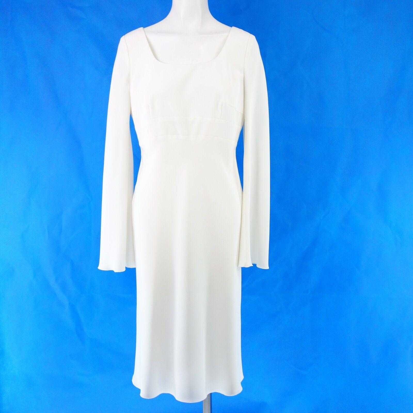 BETTINA SCHOENBACH Damen Kleid 38 Weiß Festlich Etuikleid Schwingend Langarm NEU