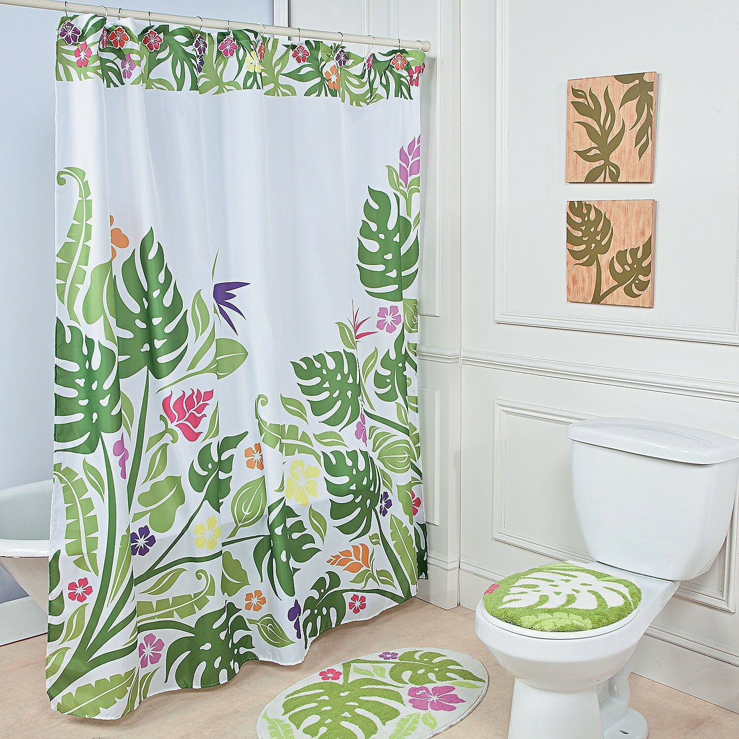 Tropical Grun Palm Leaf Island Hibiscus Bloom Floral Shower Curtain Hook Set F3afb5