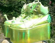 YRU holographic green alien platform shoes size 7 cyber/Goth/rave/pastel