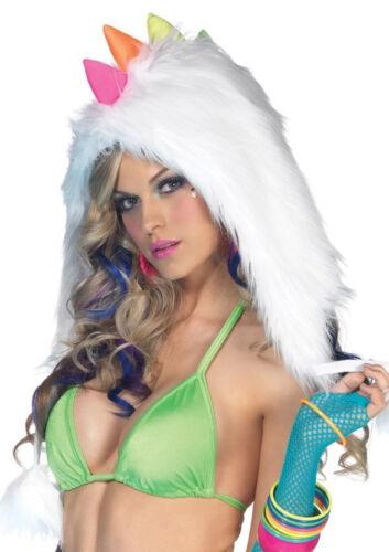 Furry Rainbow Dino Hood with Pom Poms Rave Hat Costume fnt SALE!