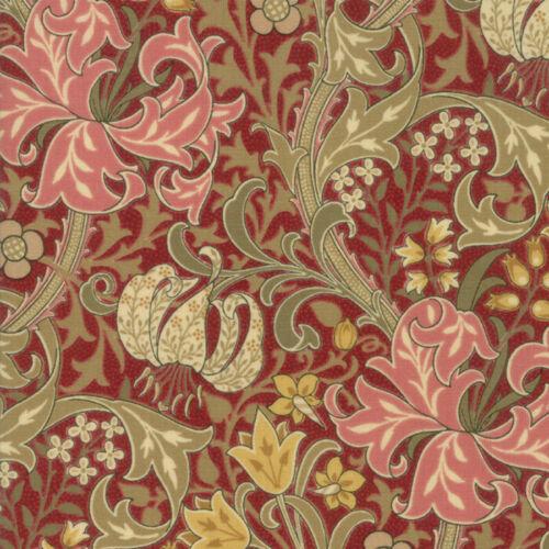 Per 1//4 Metre Moda Fabric Morris Garden Crimson Golden Lily 1897 Red