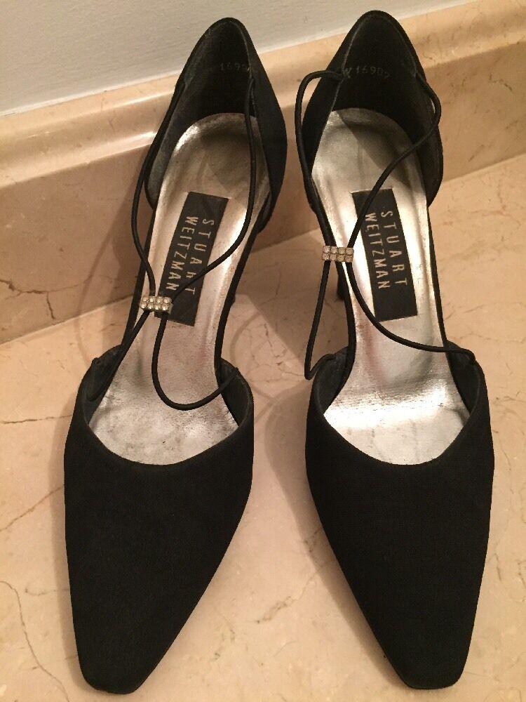 Vtg Heels Black Stuart Weitzman Classic Heels Vtg Pumps Stilettos 6 Crystal Front Strap 8355f6