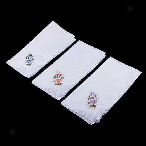 12pcs Ladies Cotton Handkerchief Embroidery Lace Hanky Kerchiefs Hankie #5