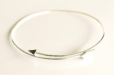 Sterling Silver Arrow Bangle Cuff Bracelet - Adjustable Fit