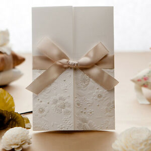 Ivory Wedding Invitations Cards Set with Envelope Seal Free Personlized Print