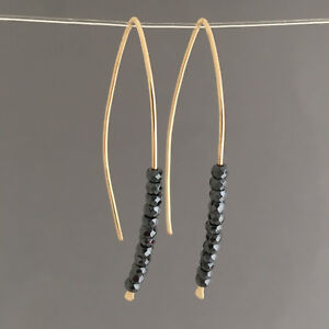 Image Is Loading Black Hemae Wishbone Threader Earrings Gold Fill Rose