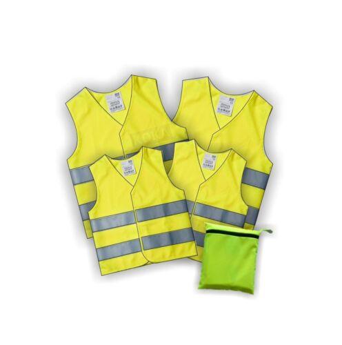 4x Warnweste gelb Familienpack Pannenwesten 4 Stck XL//XXL und zwei Kindergrößen
