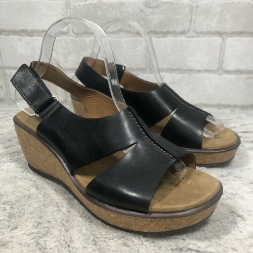 Clarks Black Leather Comfort Slingback Cork Wedge