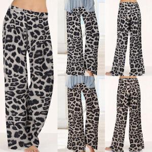 Mode-Femme-Pantalon-Bandes-elastiques-autour-de-la-taille-Imprime-Leopard-Plus