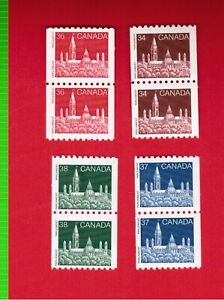 1985-to-1988-FOUR-COIL-PAIRS-952-953-1194-1194A-CANADA-STAMPS-MINT-COLL3