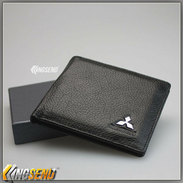 various design top design outlet store deluxe MITSUBISHI Genuine 100% Cow Leather Bifold Wallet Men Slim Purse Car  Gift
