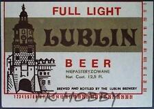 Poland Brewery Lublin Full Light Beer Label Bieretikett Etiqueta Cerveza lu28.1