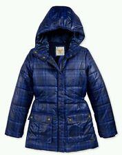 NWT Tommy Hilfiger Girls Printed Hooded Puffer Winter Jacket Blue MEDIUM 8 / 10