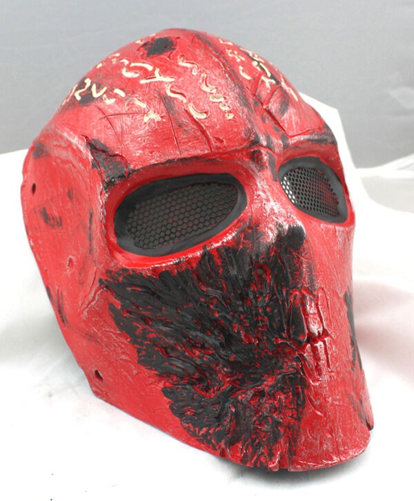 RED Fiber Resin Wire Mesh Eye Airsoft Paintball Full Face Predection  Mask