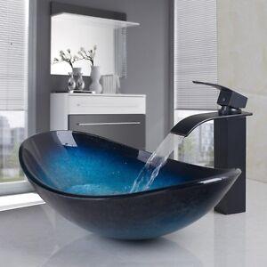 Us unit bathroom vessel sink faucet combo set glass black - Bathroom vessel sink vanity combo ...