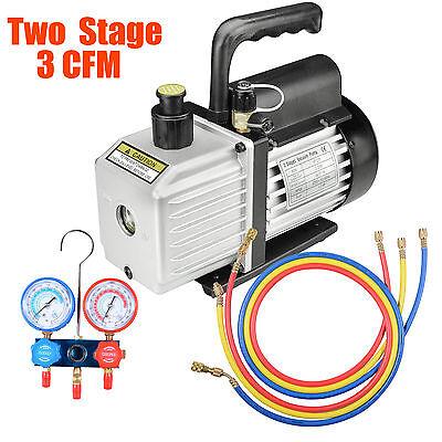 3CFM 2 Stages Refrigerant Vacuum Pump Manifold Gauges Tools Air Condition