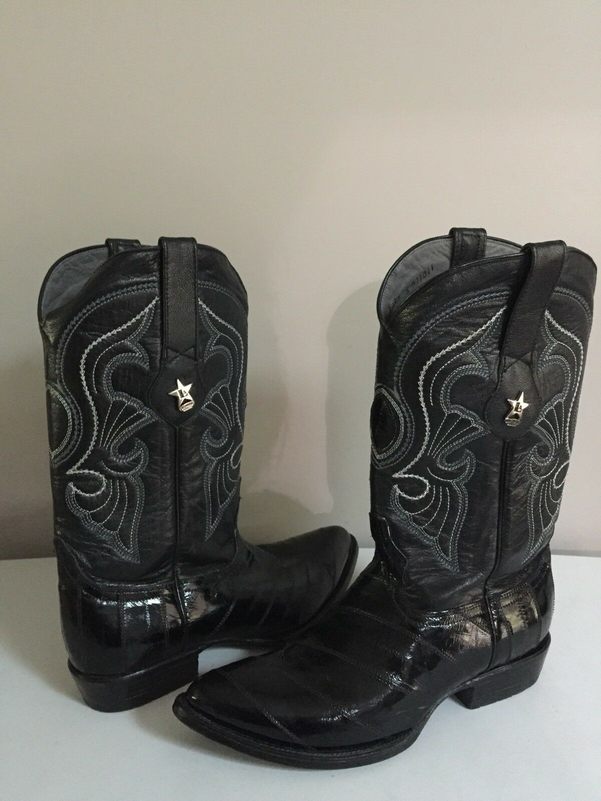 Los Altos Men's Boots Black & Grey Genuine eel Skin Sz 10 D Western Wear Cowboy