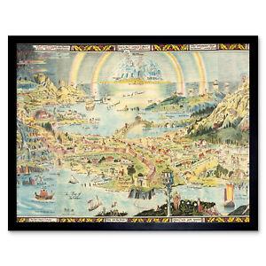Map-Sleigh-1918-Ancient-Fairyland-Fantasy-Chart-Wall-Art-Print-Framed-12x16