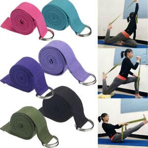 Blend-Cotton-Yoga-Stretching-Strap-D-Ring-Belt-180-cm-Waist-Leg-Fitness-Exercise