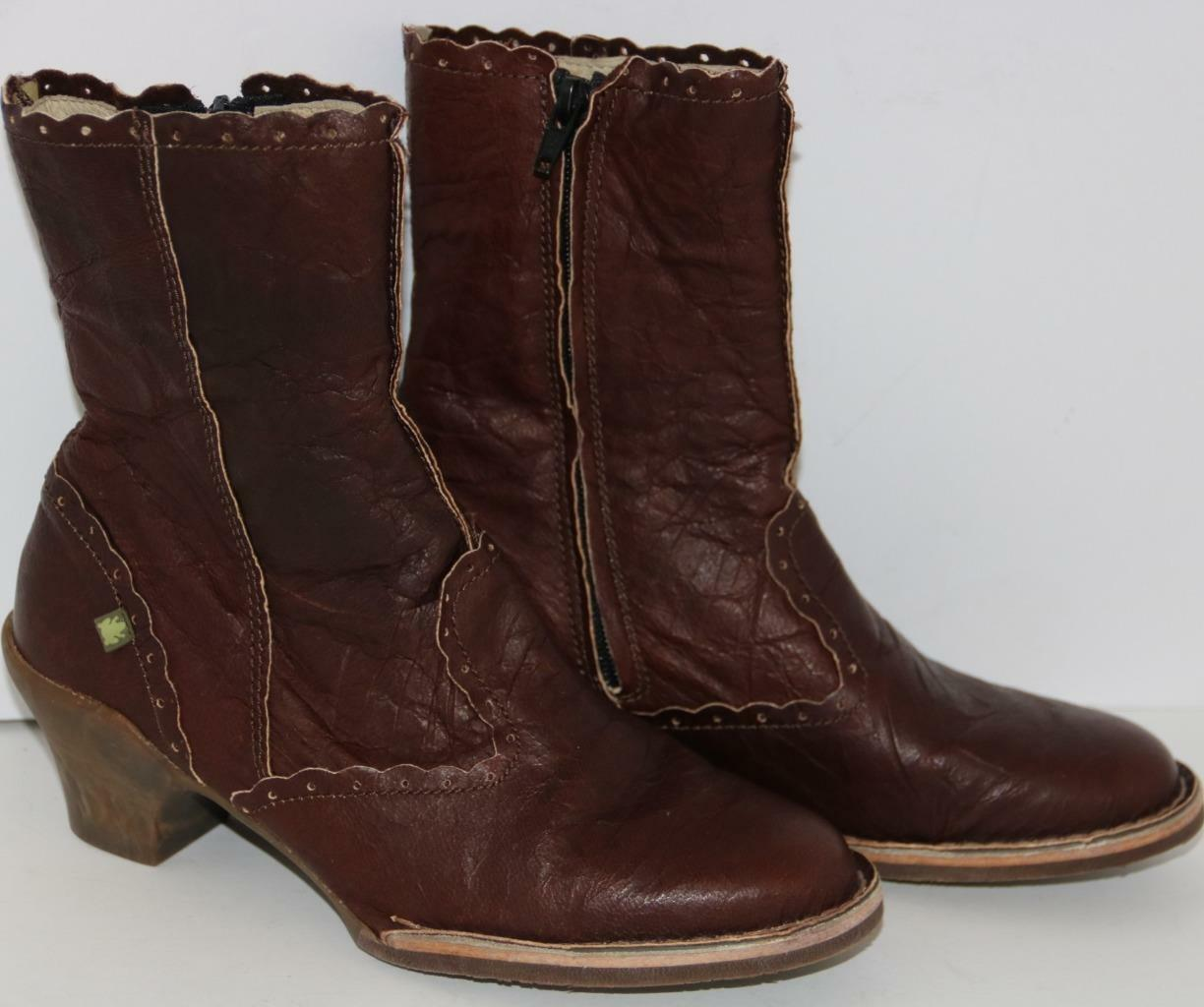 El Naturalista Women's shoes Ankle Boots Brown Leather Size 7 37 FREE SHIPPING