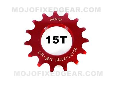BLUE ANODIZED Cro-Mo TRACK 15 TOOTH 1//8 INCH CNC MOJO 15T FIXED GEAR COG