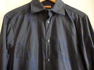 KENZO-HOMME-Navy-Cotton-Blue-Paisley-Longsleeve-Shirt-38-15-M