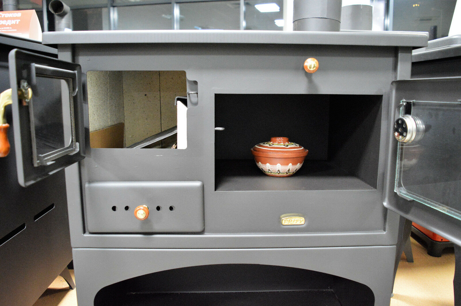holz verbrennung gusseisen top feste brennstoffe kochen herd kamin mit 10 kw ebay. Black Bedroom Furniture Sets. Home Design Ideas