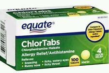 Allergy Medicine EQUATE Chlortabs Tablets Antihistamine 100 Ct