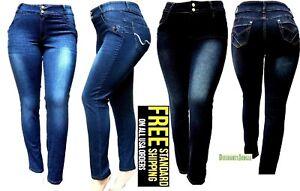 ea220fc793c 5IVE WOMENS PLUS SIZE Stretch BLACK BLUE HI WAIST denim jeans SKINNY ...