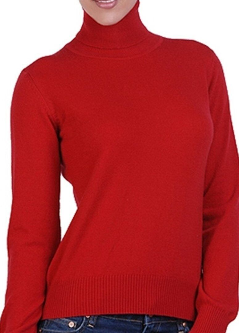 Balldiri 100% Cashmere Damen Pullover Rollkragen mit Bündchen rot XS