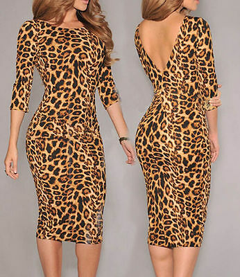 Leopard Print Low V Back Midi women bodycon new party dress LC6560 Pencil sexy