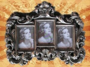 Humour Cadre Photo Baroque 3 Photos Argent Couleurs Antique Vintage Cadeau Décoration-afficher Le Titre D'origine