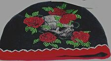 "Black/Red Sinful by AFFLICTION ROSES & SKUL RHINSTONE ""Sinful""Beanie  SKULL CAP"